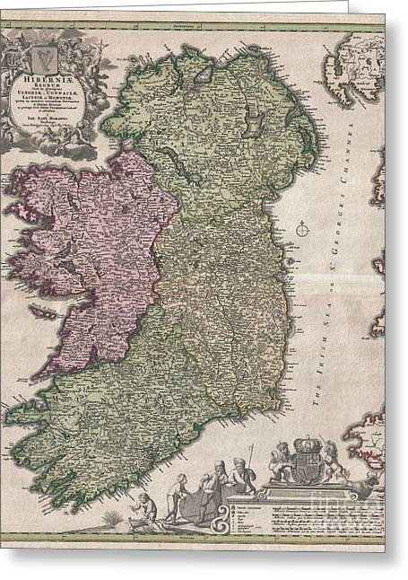 1716 Homann Map Of Ireland Greeting Card by Paul Fearn