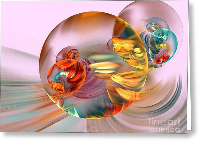 Colorful Abstract Forms Greeting Card by Odon Czintos