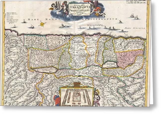 1720 Funck Map Of Israel  Palestine Holy Land Greeting Card by Paul Fearn