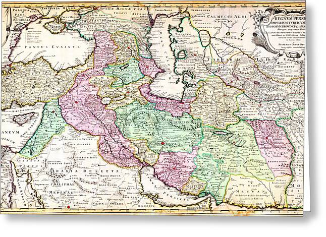 1730 Ottens Map Of Persia Iran Iraq Turkey Geographicus Regnumpersicum Ottens 1730 Greeting Card by MotionAge Designs