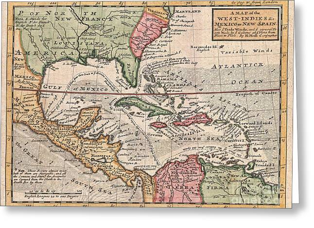 1732 Herman Moll Map Of The West Indies And Caribbean Greeting Card by Paul Fearn