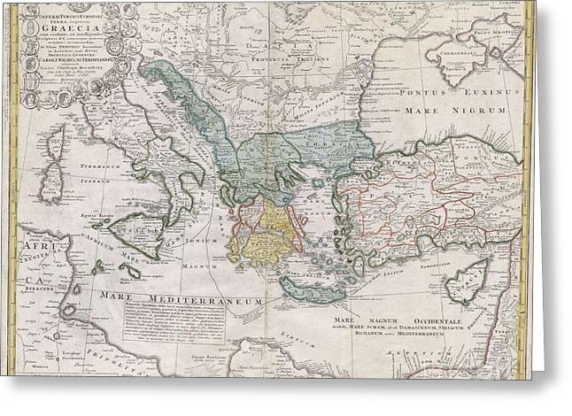 1741 Homann Heirs Map Of Ancient Greece  The Eastern Mediterranean Greeting Card by Paul Fearn