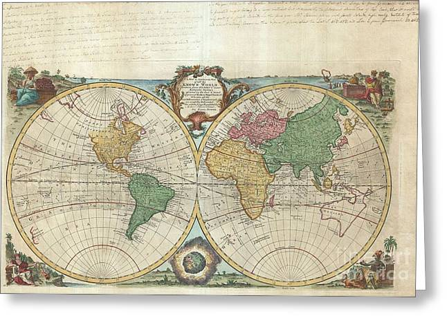 1744 Bowen Map Of The World In Hemispheres Greeting Card