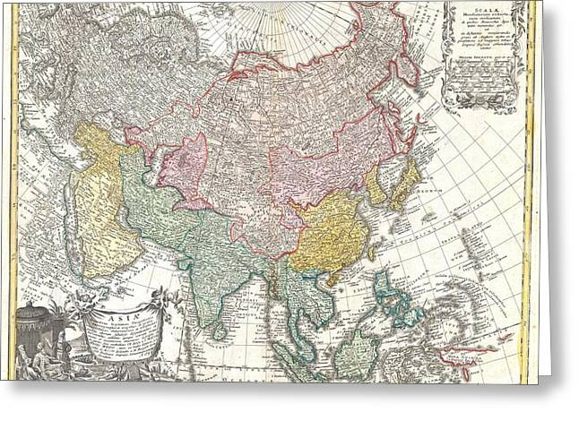1744 Homann Heirs Map Of Asia  Greeting Card by Paul Fearn