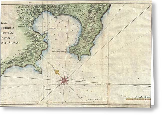 1745 Anson Map Or Chart Of Zihuatanejo Harbor Mexico Greeting Card by Paul Fearn