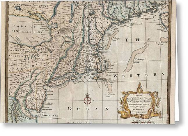 1747 Bowen Map Of New Jersey Pennsylvania New York And New England Greeting Card by Paul Fearn