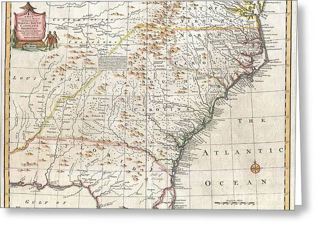 1747 Bowen Map Of The Southeastern United States Carolina Georgia Florida Greeting Card by Paul Fearn