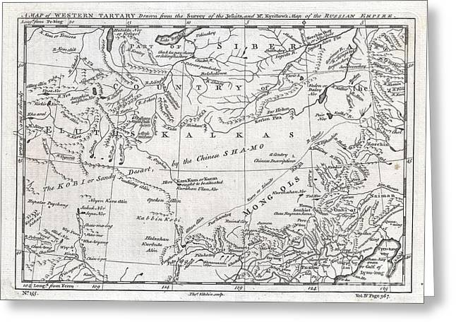 1747 Kitchin Map Of Central Asia And The Gobi Desert  Greeting Card by Paul Fearn