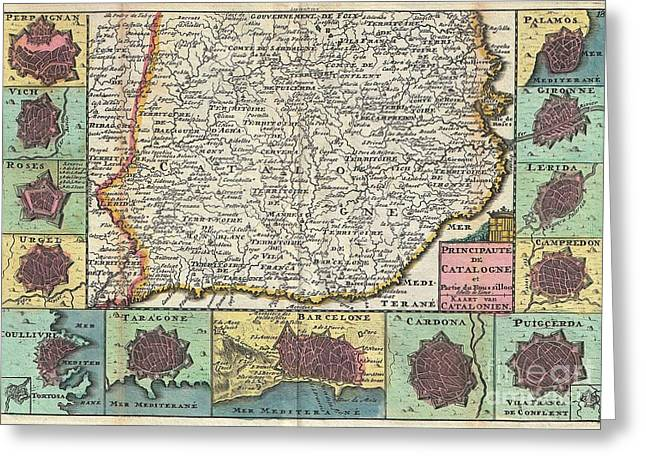 1747 La Feuille Map Of Catalonia Spain Greeting Card by Paul Fearn