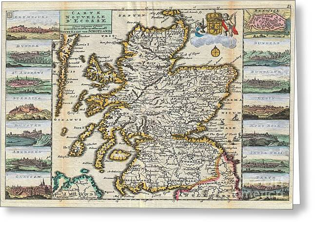 1747 La Feuille Map Of Scotland  Greeting Card by Paul Fearn