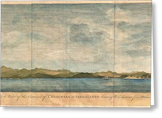 1748 Anson View Of Zihuatanejo Harbor Mexico Greeting Card by Paul Fearn