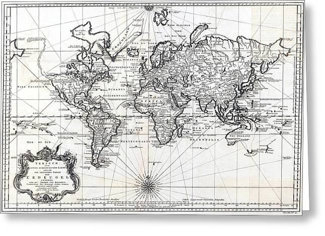 1748 Antique World Map Versuch Von Einer Kurzgefassten Karte  Greeting Card by Karon Melillo DeVega