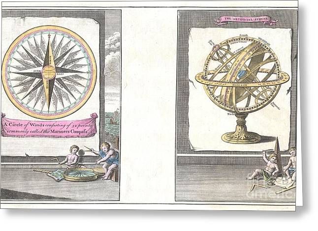 1748 Bowen Mariners Compass And Armillary Sphere Greeting Card