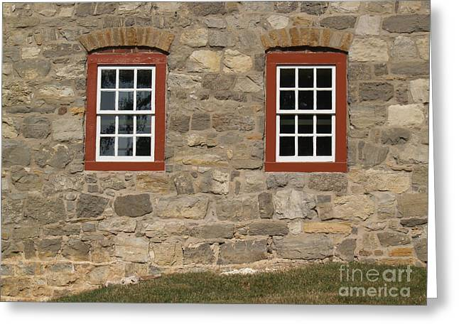 1748 Fieldstone And Windows -- Moravian College Greeting Card by Anna Lisa Yoder