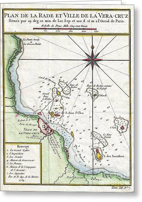 1754 Bellin Map Of Veracruz Mexico  Greeting Card by Paul Fearn