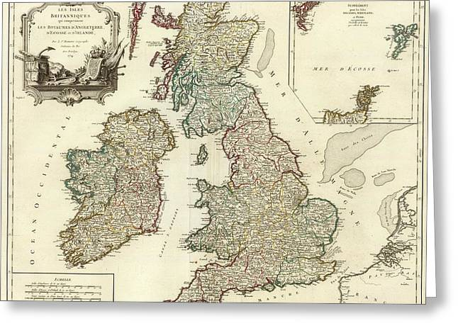 1754 British Isles Vintage Map Print Greeting Card by Helena Kay