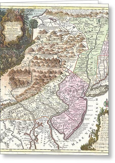 1756 Lotter Map Of Pennsylvania New Jersey And New York Greeting Card by Paul Fearn