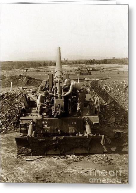 175mm Self Propelled Gun C 10 7-15th Field Artillery Vietnam 1968 Greeting Card