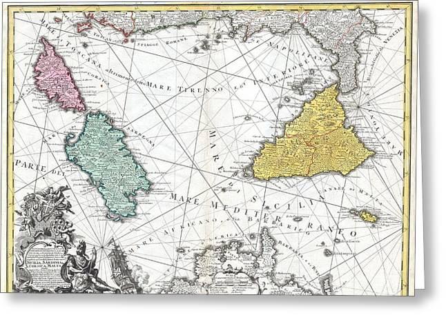 1762 Homann Heirs Map Of Sicily Sardenia Corsica And Malta Greeting Card by Paul Fearn