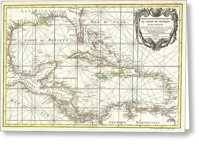 1762 Zannoni Map Of Central America And The West Indies Greeting Card