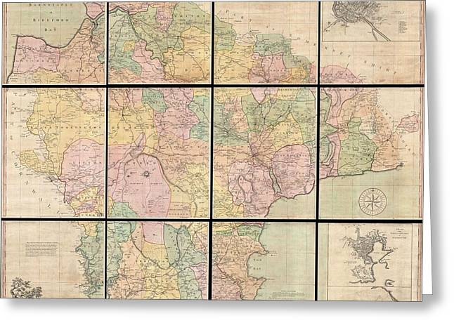 1765 Benjamin Donn Wall Map Of Devonshire And Exeter England Greeting Card by Paul Fearn