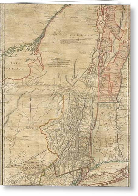1768 Holland  Jeffreys Map Of New York And New Jersey  Greeting Card by Paul Fearn