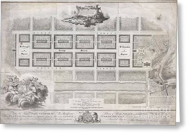 1768 James Craig Map Of New Town Edinburgh Scotland  Greeting Card