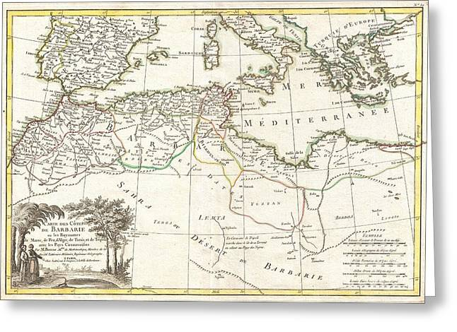 1771 Bonne Map Of The Mediterranean And The Maghreb Or Barbary Coast Greeting Card