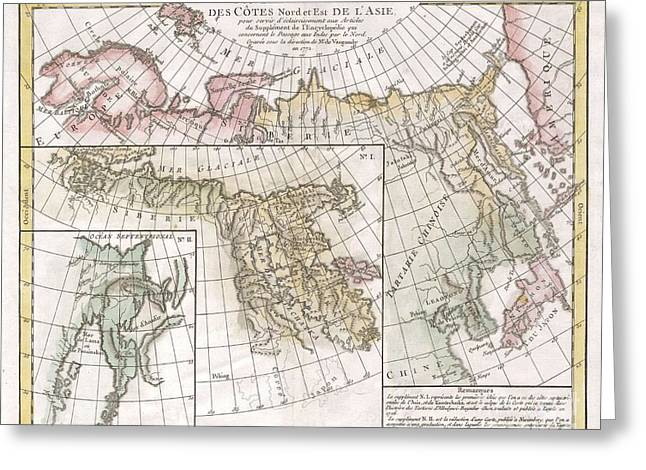 1772 Vaugondy  Diderot Map Of Asia And The Northeast Passage Greeting Card