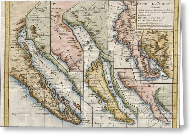 1772 Vaugondy  Diderot Map Of California In Five States California As Island Greeting Card by Paul Fearn