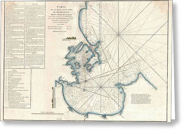 1775 Mannevillette Map Of Trincomalee Ceylon Or Sri Lanka Greeting Card