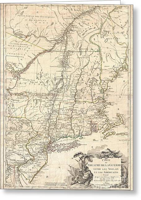 1777 Brion De La Tour Map Of New York And New England Revolutionary War Greeting Card by Paul Fearn