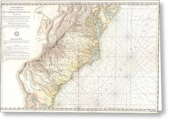 1778 Sartine Map Of Georgia North Carolina South Carolina Virginia And Maryland Greeting Card by Paul Fearn