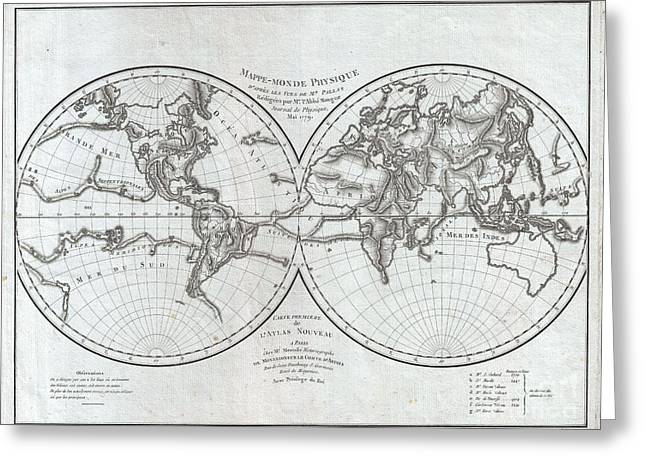 1779 Pallas And Mentelle Map Of The Physical World  Greeting Card