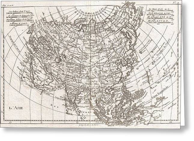 1780 Raynal And Bonne Map Of Asia Greeting Card by Paul Fearn