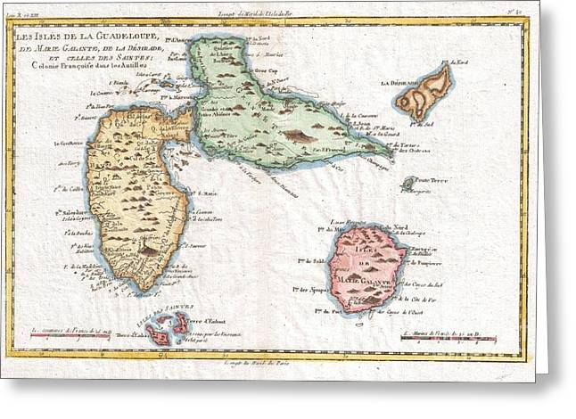 1780 Raynal And Bonne Map Of Guadeloupe West Indies Greeting Card