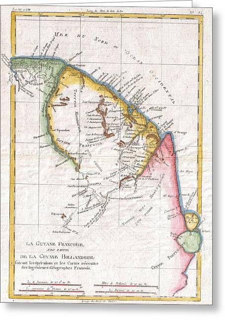 1780 Raynal And Bonne Map Of Guyana And Surinam Greeting Card by Paul Fearn