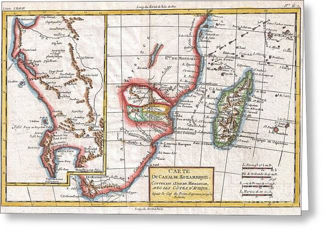 1780 Raynal And Bonne Map Of South Africa Zimbabwe Madagascar And Mozambique Greeting Card