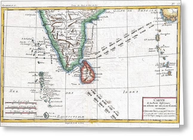 1780 Raynal And Bonne Map Of Southern India Greeting Card by Paul Fearn