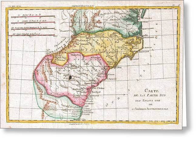 1780 Raynal And Bonne Map Of Southern United States Greeting Card by Paul Fearn