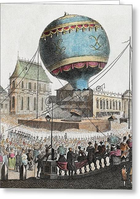 1783 Montgolfier First Ascent Balloon Greeting Card by Paul D Stewart
