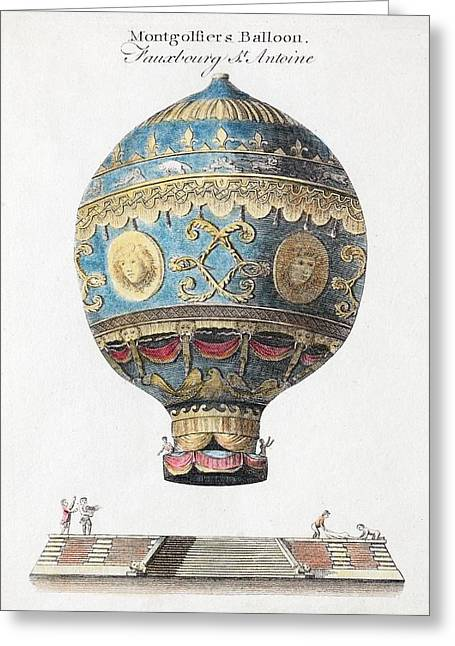 1783 Montgolfiers First Manned Balloon Greeting Card