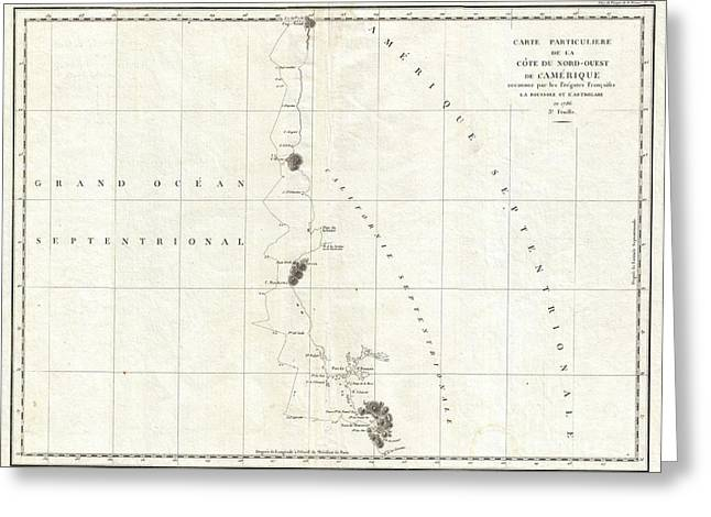 1786 La Perouse Map Of San Francisco Monterey Bay California And Oregon Greeting Card by Paul Fearn