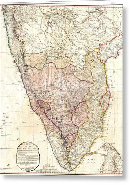 1793 Faden Wall Map Of India Greeting Card by Paul Fearn