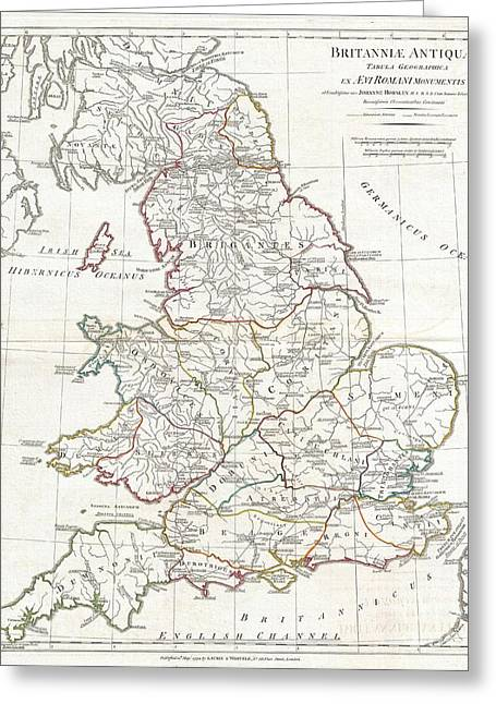 1794 Anville Map Of England In Ancient Roman Times Greeting Card by Paul Fearn