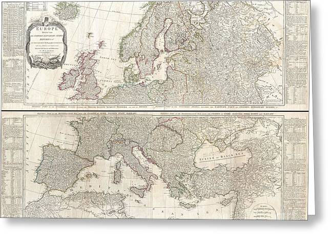 1794 D Anville Two Panel Wall Map Of Europe Greeting Card by Paul Fearn