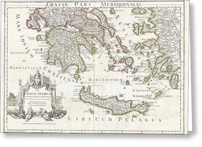 1794 Delisle Map Of Southern Ancient Greece Greeks Isles And Crete Greeting Card by Paul Fearn
