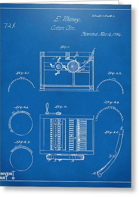 1794 Eli Whitney Cotton Gin Patent Blueprint Greeting Card