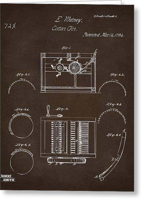 Greeting Card featuring the drawing 1794 Eli Whitney Cotton Gin Patent Espresso by Nikki Marie Smith