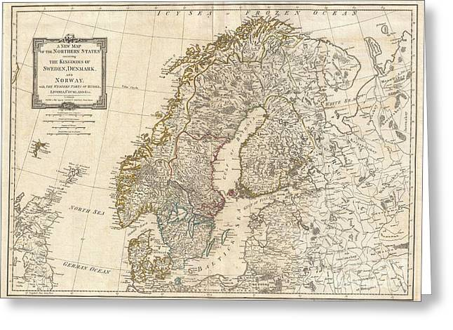 1794 Laurie And Whittle Map Of Norway Sweden Denmark And Finland Greeting Card